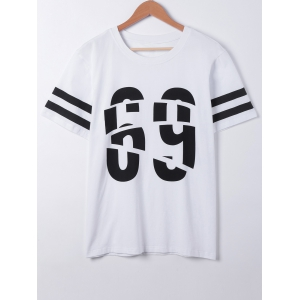 Fashionable Short Sleeves Number Print T-Shirt