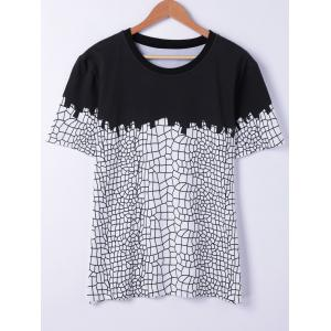Stylish Short Sleeves Round Neck Net Structure Printing T-Shirt For Men - Black - S