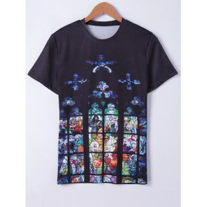 Fashionable Short Sleeves Round Neck Oil Painting Printing T-Shirt For Men - Black - L