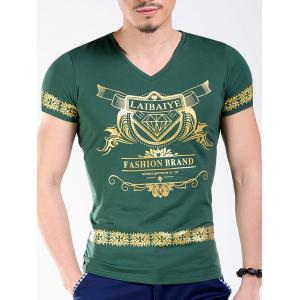Slimming V-Neck Golden Letters Floral Printing Short Sleeves T-Shirt For Men