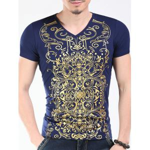Trendy V-Neck Golden Printing Slimming Short Sleeves T-Shirt For Men
