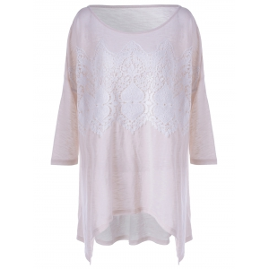 Fashionable Long Sleeves Lace Splicing Asymmetric T-Shirt For Women