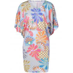 Casual V-Neck Batwing Dress With Floral Print For Women