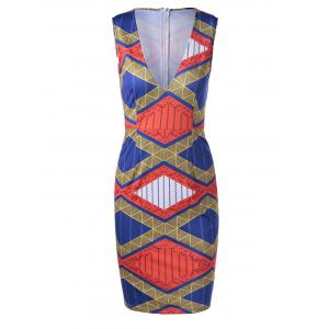 Ethnic Style Fitted V-Neck Geometric Print Dress For Women - Earthy - M