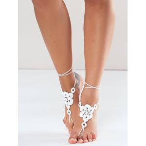Pair of Vintage Solid Color Floral Woven Sandal Toe Ring Anklet - WHITE