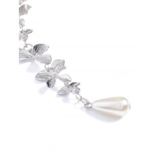 Orchids Faux Pearl Necklace - SILVER