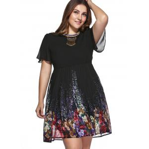 Stylish Plus Size Pleated Floral Print Dress -
