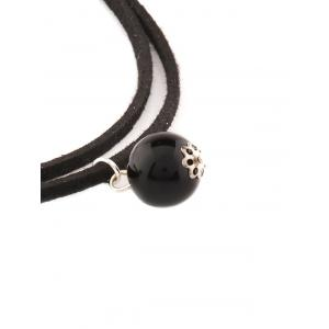 Faux Pearl Layered Necklace - BLACK