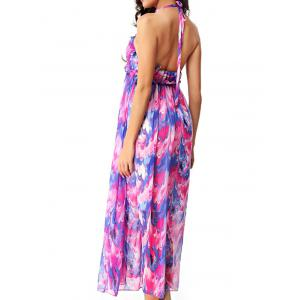 Elegant Women's Convertible Straps Printed Maxi Dress -