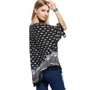 Stylish Tassel Trim Elephant Paisley Print Women's Blouse -
