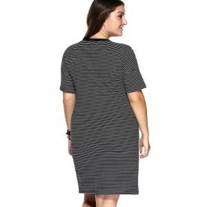 Casual Plus Size Striped High Low Hem Shift Dress -