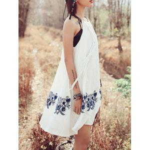 Trendy Embroidered Macrame Front Women's Halter Dress -