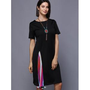 Colorful Splicing Jewel Neck Dress -