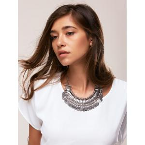 Coin Tassel Carved Statement Necklace -