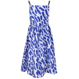 Fashionable Spaghetti Strap Loose-Fitting Dress With Printing For Women - BLUE AND WHITE XL