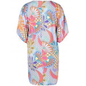 Casual V-Neck Batwing Dress With Floral Print For Women - COLORMIX XL