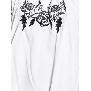 Sweet Floral Embroidered Off The Shoulder Women's Blouse -