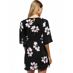 Ladylike Elastic Waist Floral Women's Print Dress -