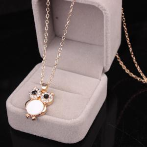 Chic Style Enamel Owl Rhinestone Pendant Necklace For Women -