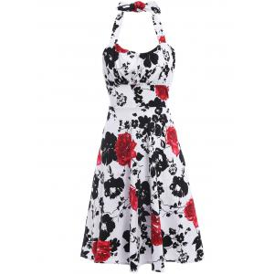Vintage Halter Flower Print Sleeveless Dress For Women - Black And White And Red - S