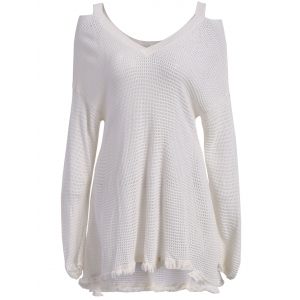 V Neck Cut Out Long Sleeve Asymmetrical Flounce Sweater - White - M