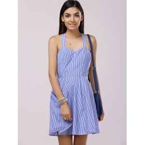 Sleeveless Stripe A Line Mini Dress -