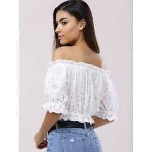 Off The Shoulder 3/4 Sleeve Crop Top Blouse - WHITE M
