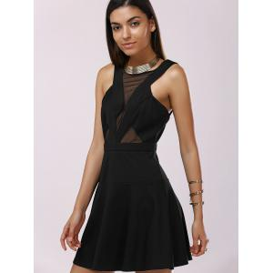 Fashionable Gauze Splice Cut-Out Drees For Woman - BLACK XL