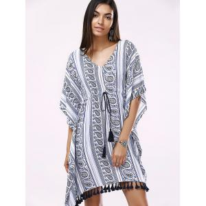 Batwing V-Neck Casual Short Flowy Dress -