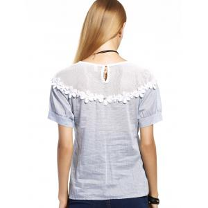 Stylish Mesh Spliced Floral Embellished Women's Blouse -