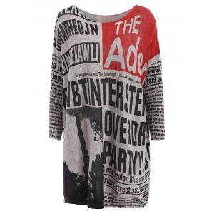 Stylish Scoop Neck Long Sleeves Newspaper Printed Sweater For Women