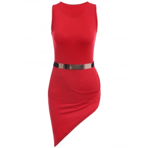 Fashionable Solid Color Sleeveless Belted Irregular Bodycon Dress For Women