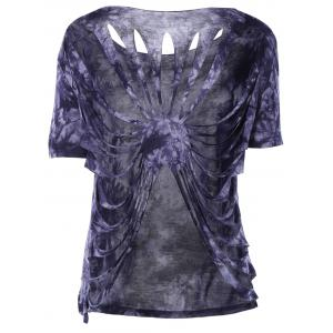 Stylish RoundNeck Tie-Dyed Short Sleeves Top For Women -