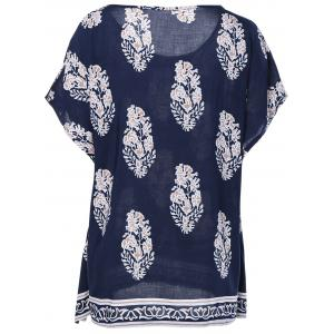 Ethnic Style Print RoundNeck Short Sleeves Top For Women -