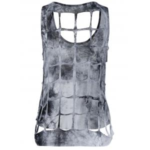 Stylish Scoop Neck Tie-Dyed Tank Top For Women -