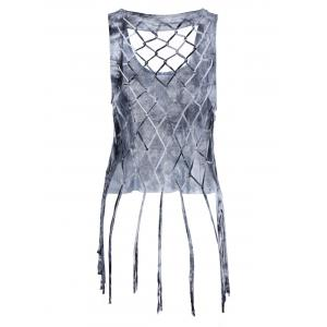 Fashionable Scoop Neck Fringe Weave Tank Top For Women -