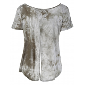 Fashionable ScoopNeck Tie-Dyed Short Sleeves Top For Women -