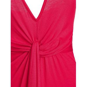 Spaghetti Strap Twist Front High Low Robe Backless - Rouge L