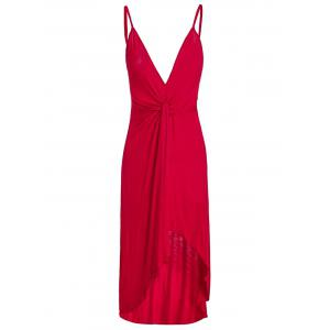 Spaghetti Strap Twist Front High Low Backless Dress - Red - M