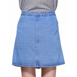 Preppy Style High-Waist Button Down Denim Skirt - LIGHT BLUE S