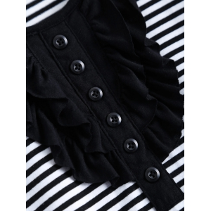 Front Button Stripe Jabot - Shirt - STRIPE L