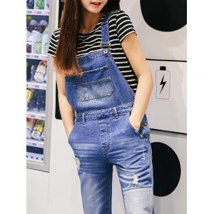 Strap Patch Spliced Denim Ripped Jumpsuit -