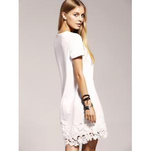 Sweet Elk Print Lace Trim Women's Dress -