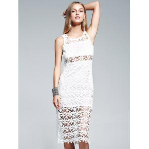 Sheer Lace Crochet See Thru Midi Dress -