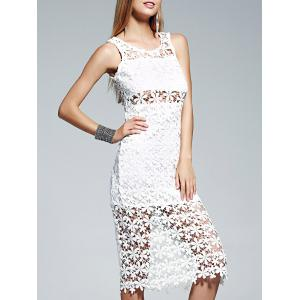 Lace Crochet See Thru Midi Dress
