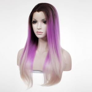 Noble Lace Front Long Silky Straight Mixed Color Synthetic Wig For Women -