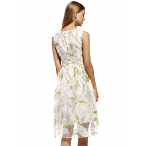 Refreshing Floral Print Tulle Overlay Women's Dress -