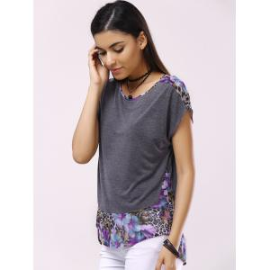 Fashionable Round Collar Short Sleeve Printed Back Hollow Out Splicing T-shirt - DEEP GRAY L