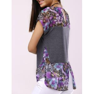 Fashionable Round Collar Short Sleeve Printed Back Hollow Out Splicing T-shirt