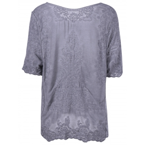 Stylish Scoop Neck Short Sleeves Crochet Blouse For Women -